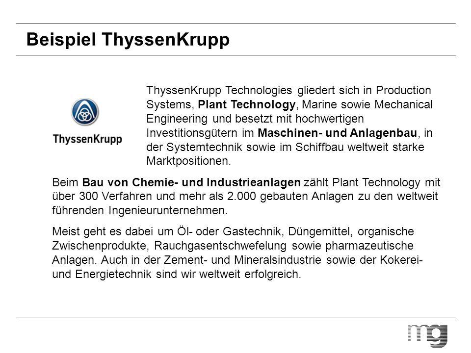Beispiel ThyssenKrupp ThyssenKrupp Technologies gliedert sich in Production Systems, Plant Technology, Marine sowie Mechanical Engineering und besetzt
