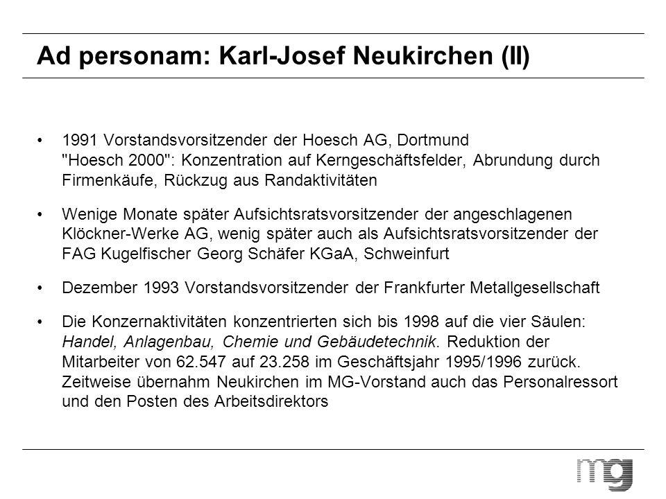 Ad personam: Karl-Josef Neukirchen (II) 1991 Vorstandsvorsitzender der Hoesch AG, Dortmund