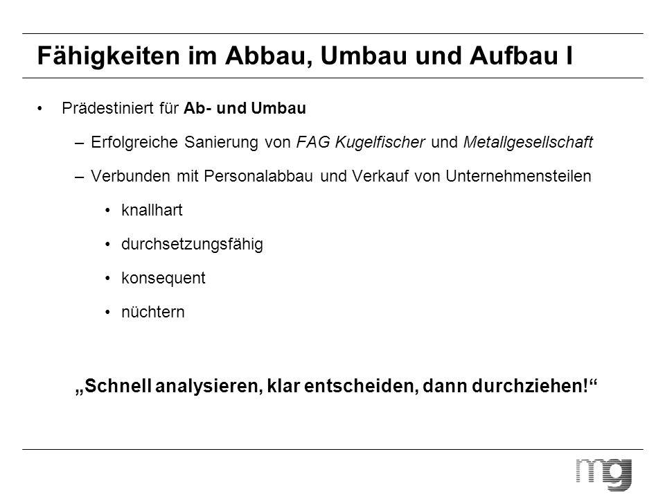 Teilkonzern mg chemical group* Orders Umsatz Pre-tax profits Mitarbeiter ROCE (%) ROS (%) - 2.512 250 12.748 17,7 9,9 - 1.441 28 838 14,8 1,9 *Basis: 2001/2002; million