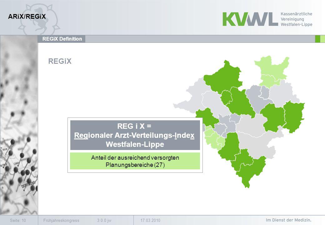 17.03.2010Frühjahreskongress 3.0.0 jwSeite: 10 REGiX Definition REGiX REG i X = Regionaler Arzt-Verteilungs-Index Westfalen-Lippe Anteil der ausreichend versorgten Planungsbereiche (27) ARiX/REGiX