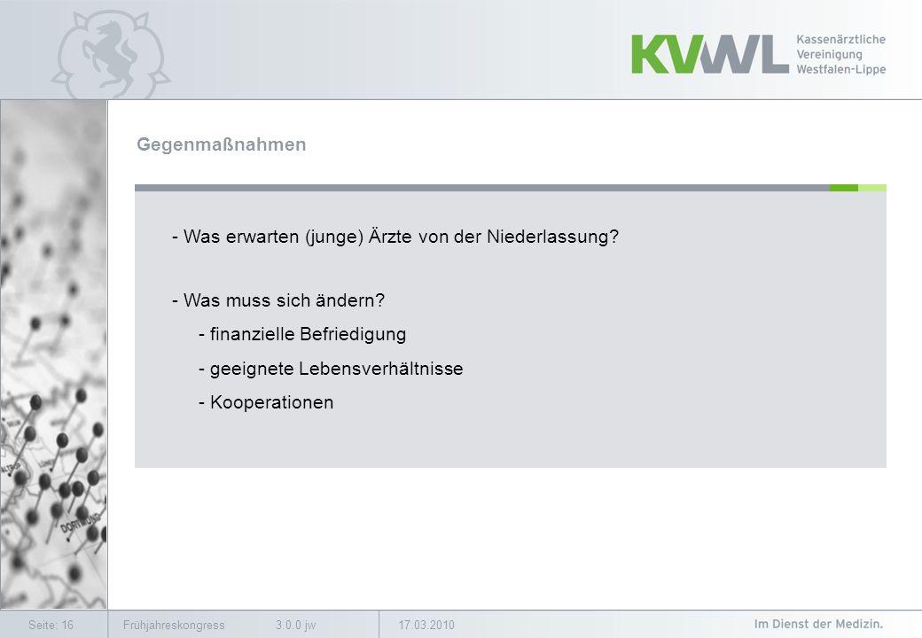 17.03.2010Frühjahreskongress 3.0.0 jwSeite: 16 Gegenmaßnahmen - Was erwarten (junge) Ärzte von der Niederlassung.