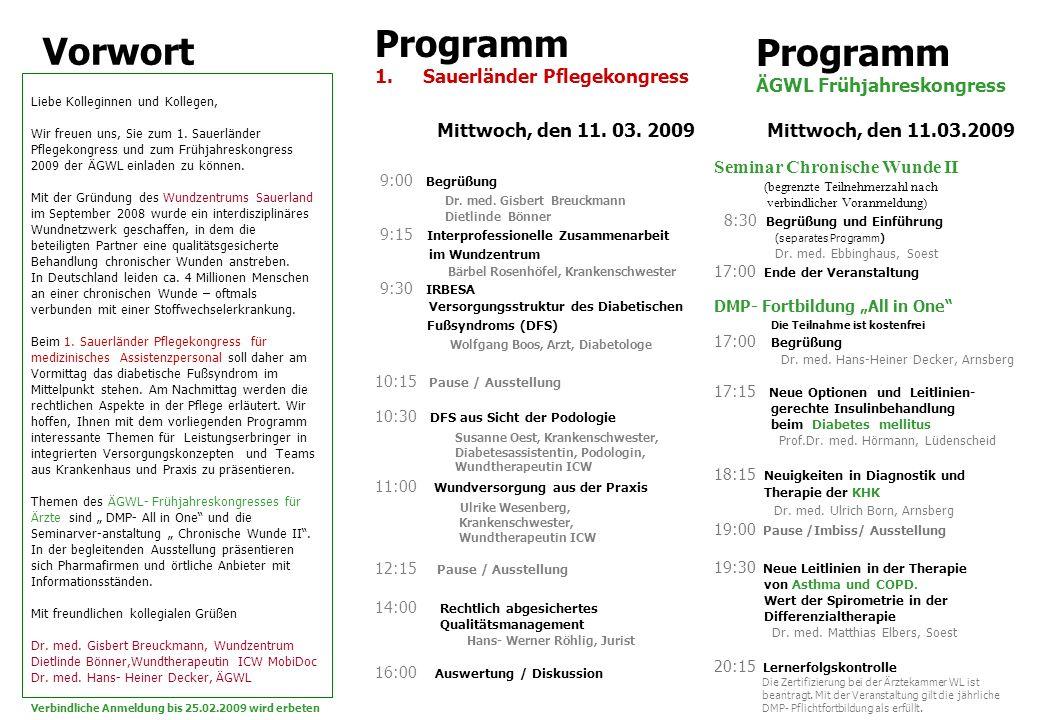 9:00 Begrüßung Dr. med. Gisbert Breuckmann Dietlinde Bönner 9:15 Interprofessionelle Zusammenarbeit im Wundzentrum Bärbel Rosenhöfel, Krankenschwester