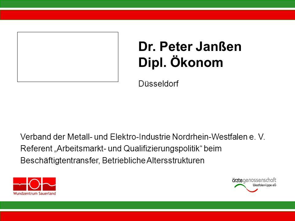 Verband der Metall- und Elektro-Industrie Nordrhein-Westfalen e. V. Referent Arbeitsmarkt- und Qualifizierungspolitik beim Beschäftigtentransfer, Betr