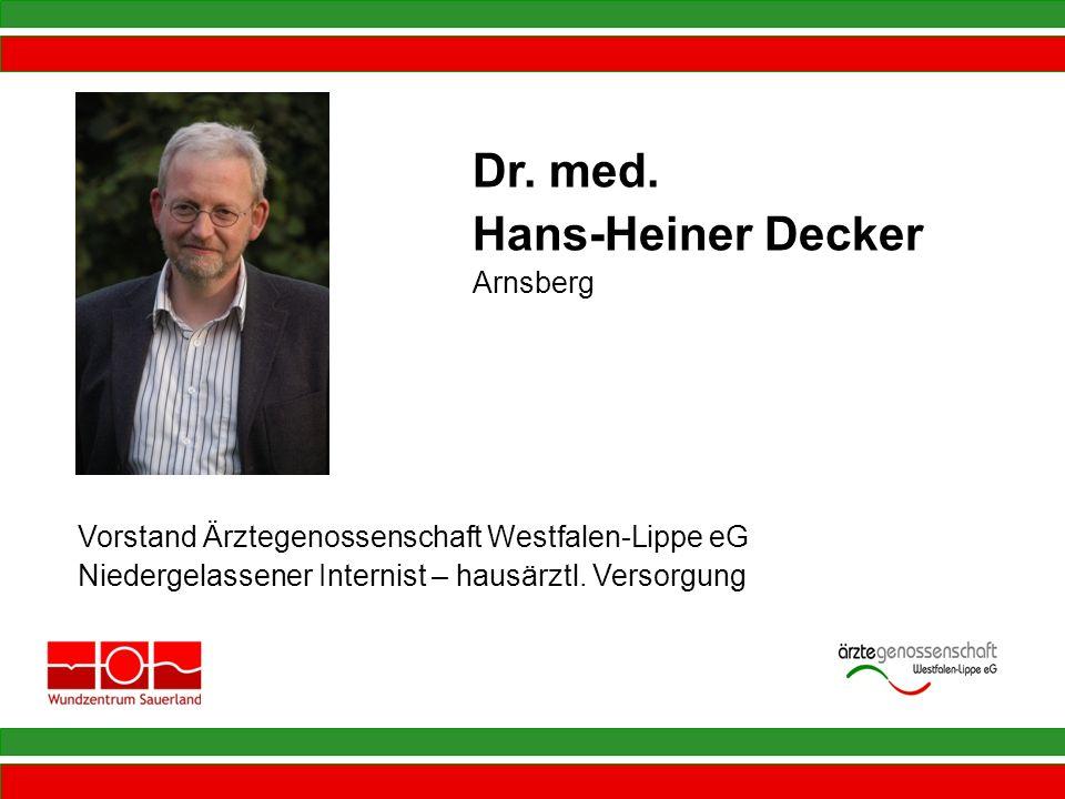 Vorstand Ärztegenossenschaft Westfalen-Lippe eG Niedergelassener Internist – hausärztl. Versorgung Dr. med. Hans-Heiner Decker Arnsberg