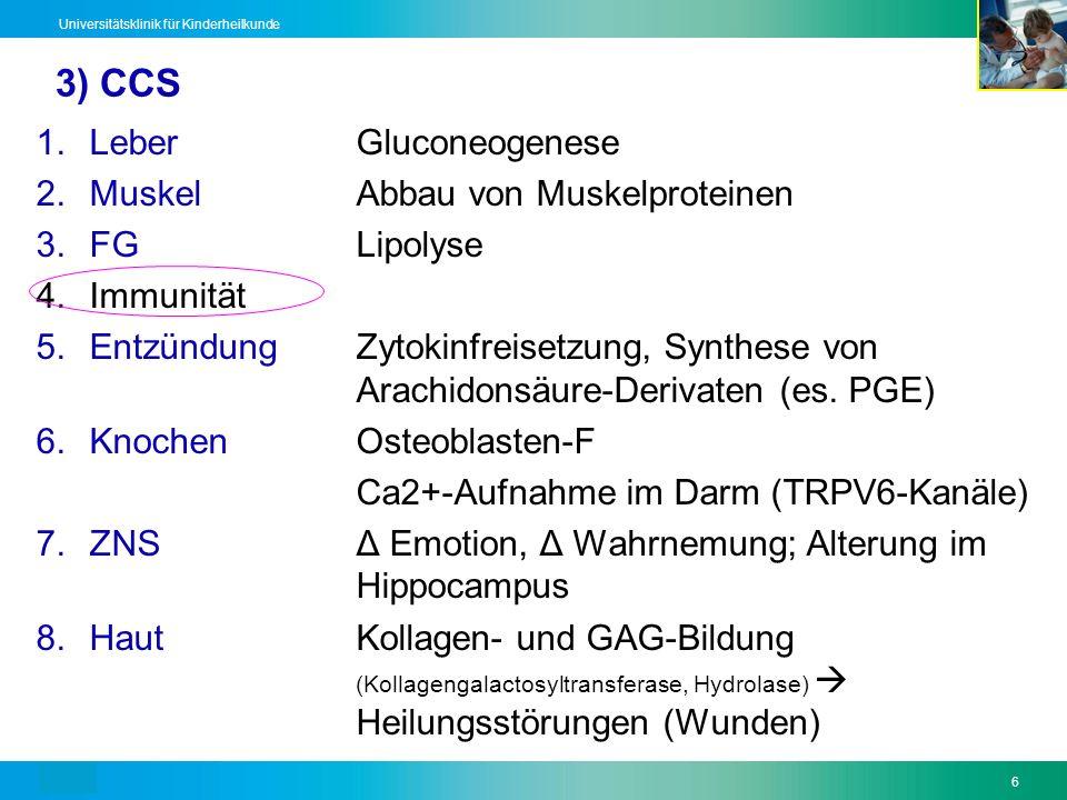 Text6 Universitätsklinik für Kinderheilkunde 3) CCS 1.LeberGluconeogenese 2.MuskelAbbau von Muskelproteinen 3.FGLipolyse 4.Immunität 5.EntzündungZytok