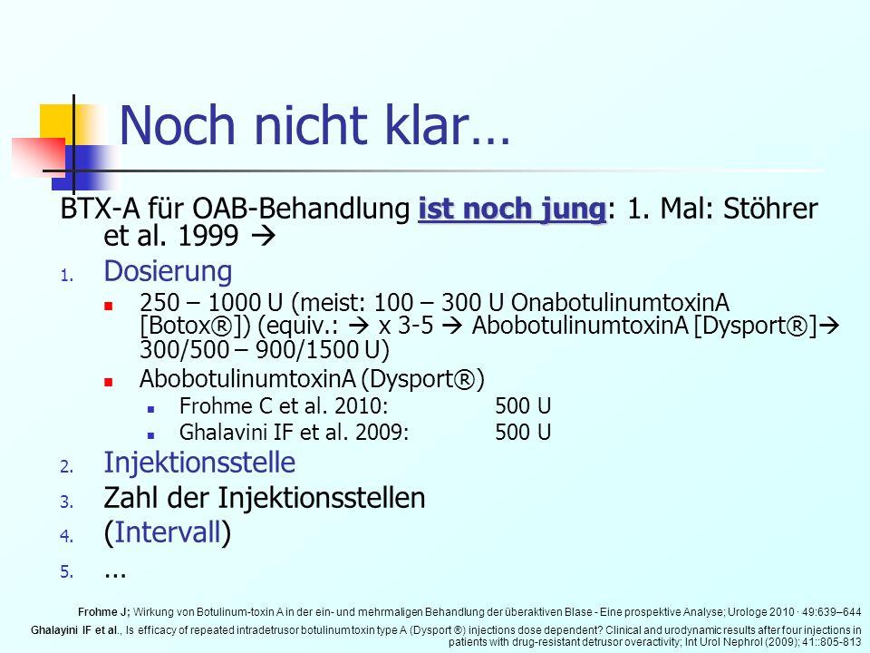Noch nicht klar… ist noch jung BTX-A für OAB-Behandlung ist noch jung: 1. Mal: Stöhrer et al. 1999 1. Dosierung 250 – 1000 U (meist: 100 – 300 U Onabo