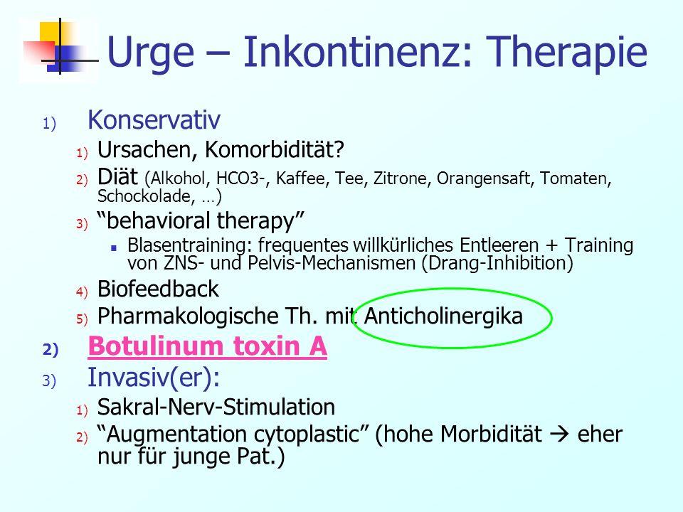 Urge – Inkontinenz: Therapie 1) Konservativ 1) Ursachen, Komorbidität? 2) Diät (Alkohol, HCO3-, Kaffee, Tee, Zitrone, Orangensaft, Tomaten, Schockolad