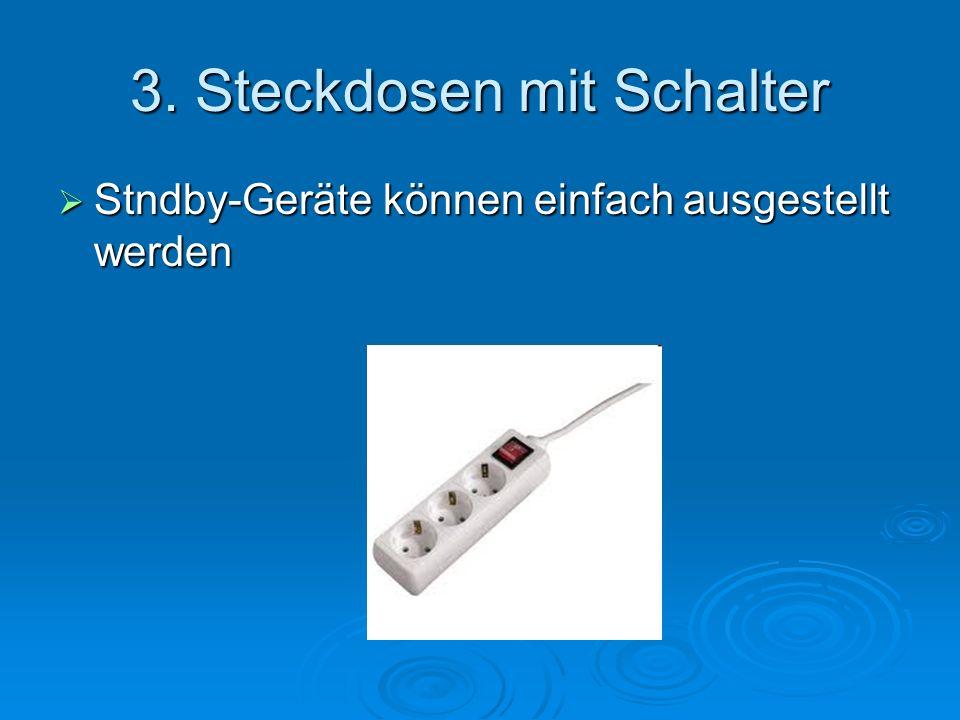 3. Steckdosen mit Schalter Stndby-Geräte können einfach ausgestellt werden Stndby-Geräte können einfach ausgestellt werden
