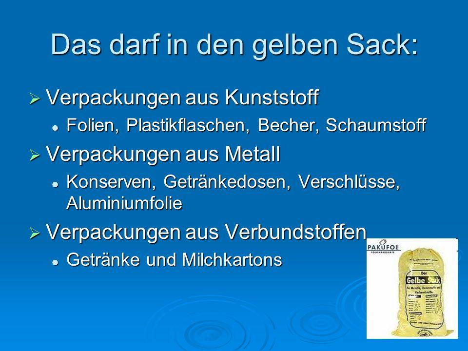 Das darf in den gelben Sack: Verpackungen aus Kunststoff Verpackungen aus Kunststoff Folien, Plastikflaschen, Becher, Schaumstoff Folien, Plastikflasc