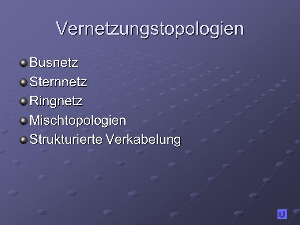 Vernetzungstopologien BusnetzSternnetzRingnetzMischtopologien Strukturierte Verkabelung