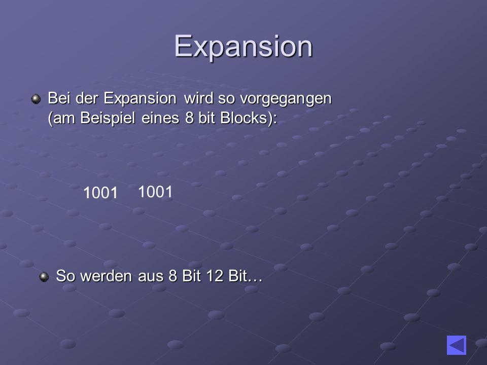1 1 Expansion Bei der Expansion wird so vorgegangen (am Beispiel eines 8 bit Blocks): 11001 1 So werden aus 8 Bit 12 Bit…