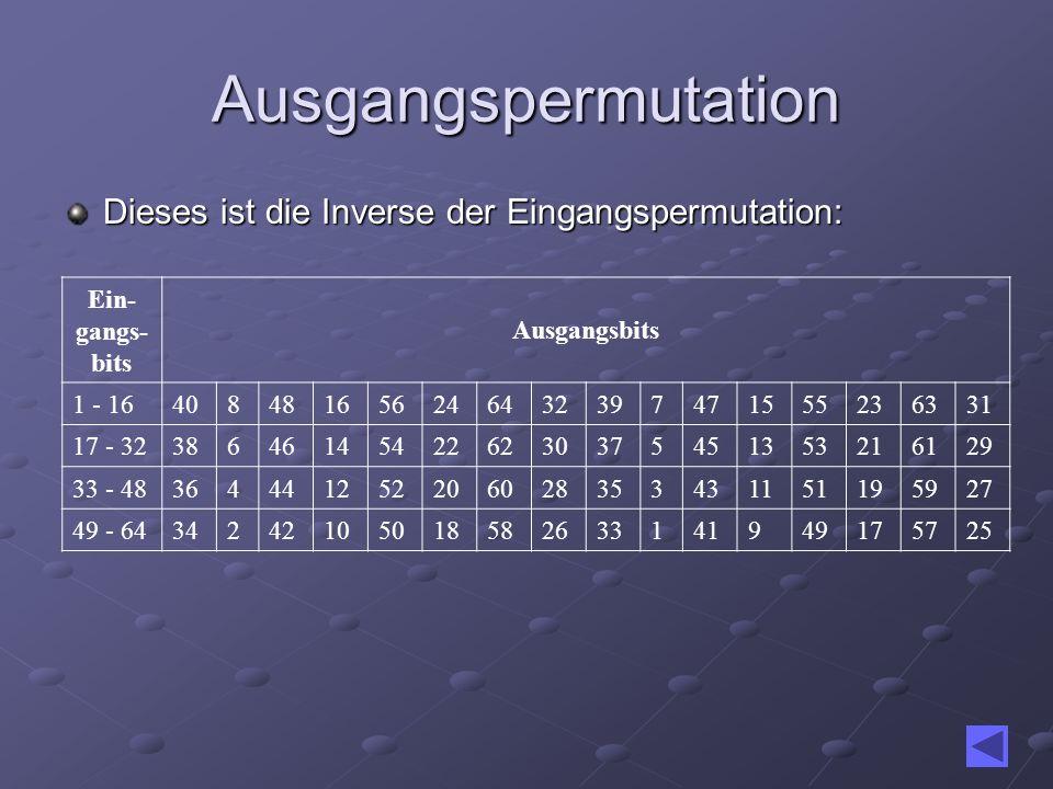 Ausgangspermutation Dieses ist die Inverse der Eingangspermutation: Ein- gangs- bits Ausgangsbits 1 - 16408481656246432397471555236331 17 - 3238646145