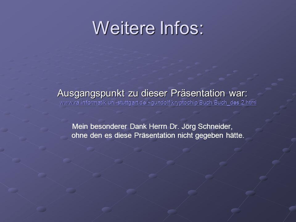 Weitere Infos: Ausgangspunkt zu dieser Präsentation war: www.ra.informatik.uni-stuttgart.de/~gundolf/kryptochip/Buch/Buch_des.2.html www.ra.informatik