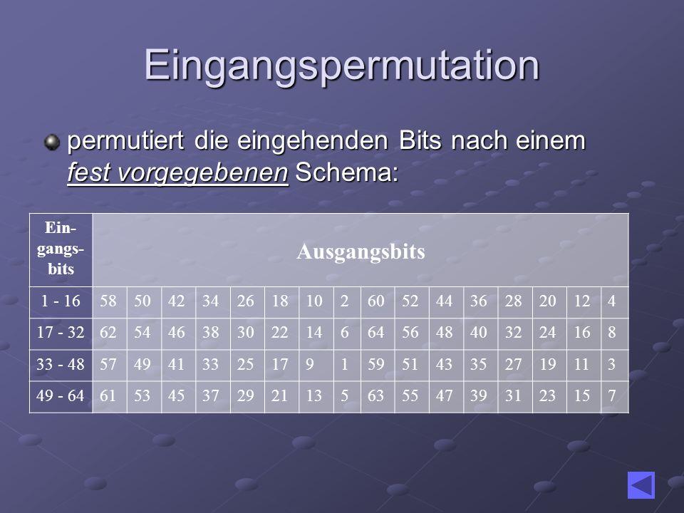 Eingangspermutation permutiert die eingehenden Bits nach einem fest vorgegebenen Schema: Ein- gangs- bits Ausgangsbits 1 - 165850423426181026052443628