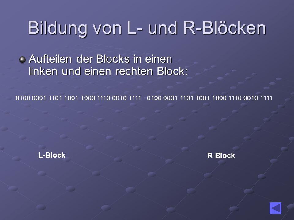 Bildung von L- und R-Blöcken Aufteilen der Blocks in einen linken und einen rechten Block: 0100 0001 1101 1001 1000 1110 0010 1111 L-Block R-Block