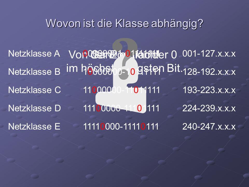Von der Position der 0 im höchstwertigsten Bit. Wovon ist die Klasse abhängig? Ganz einfach! Netzklasse A00000001-01111111001-127.x.x.x Netzklasse B10