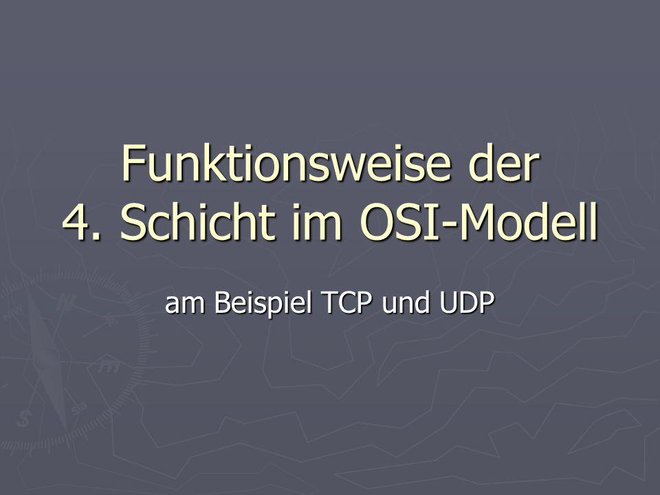 Wiederholung Schicht 4 OSI ist die Transportschicht Schicht 4 OSI ist die Transportschicht kann Punkt-zu-Punkt Verbindungen aufbauen kann Punkt-zu-Punkt Verbindungen aufbauen kann Paketreihenfolge verfolgen kann Paketreihenfolge verfolgen erkennt, wenn Pakete verloren gegangen sind erkennt, wenn Pakete verloren gegangen sind kann Überlast erkennen und beseitigen kann Überlast erkennen und beseitigen behandelt werden 2 Protokollbeispiele: behandelt werden 2 Protokollbeispiele: UDPTCP