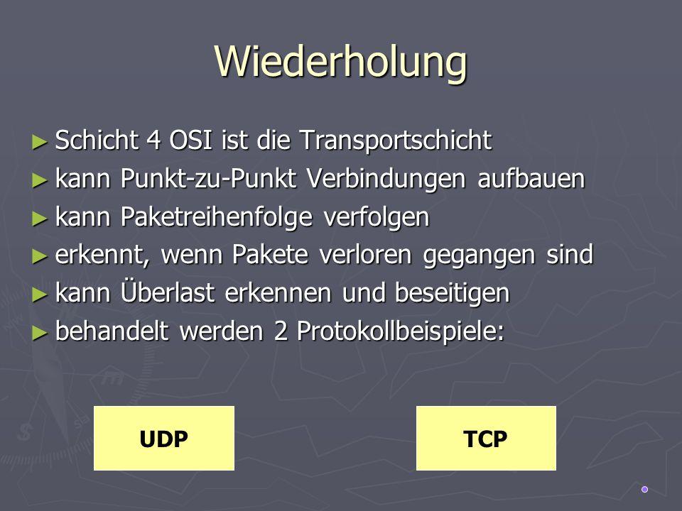 UDP (User Datagramm Protocol) verbindungslos verbindungslos relativ einfach (erweitert IP um Portnummern) relativ einfach (erweitert IP um Portnummern) keine Paketverfolgung (fire-and-forget) keine Paketverfolgung (fire-and-forget) keine Flusssteuerung keine Flusssteuerung keine Überlastkontrolle keine Überlastkontrolle Multiplexing Multiplexing