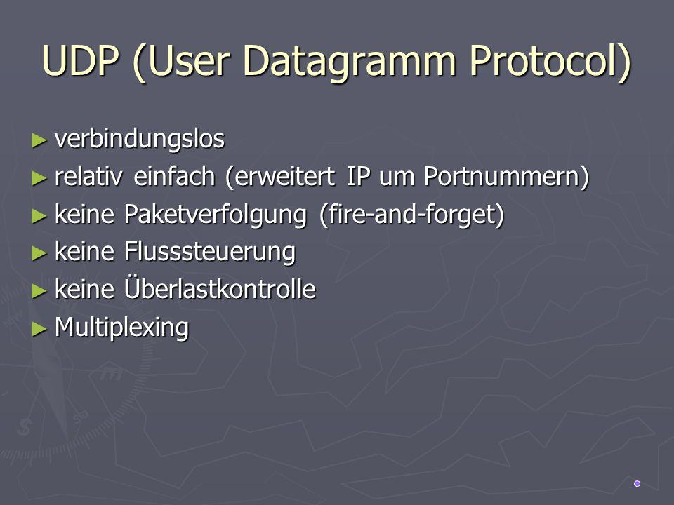 UDP (User Datagramm Protocol) verbindungslos verbindungslos relativ einfach (erweitert IP um Portnummern) relativ einfach (erweitert IP um Portnummern