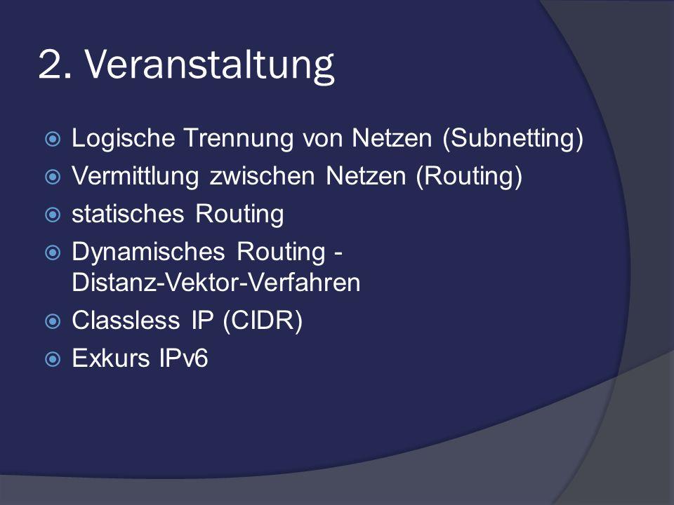 2. Veranstaltung Logische Trennung von Netzen (Subnetting) Vermittlung zwischen Netzen (Routing) statisches Routing Dynamisches Routing - Distanz-Vekt
