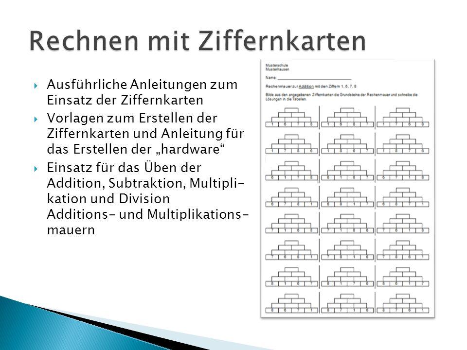 Ausführliche Anleitungen zum Einsatz der Ziffernkarten Vorlagen zum Erstellen der Ziffernkarten und Anleitung für das Erstellen der hardware Einsatz f