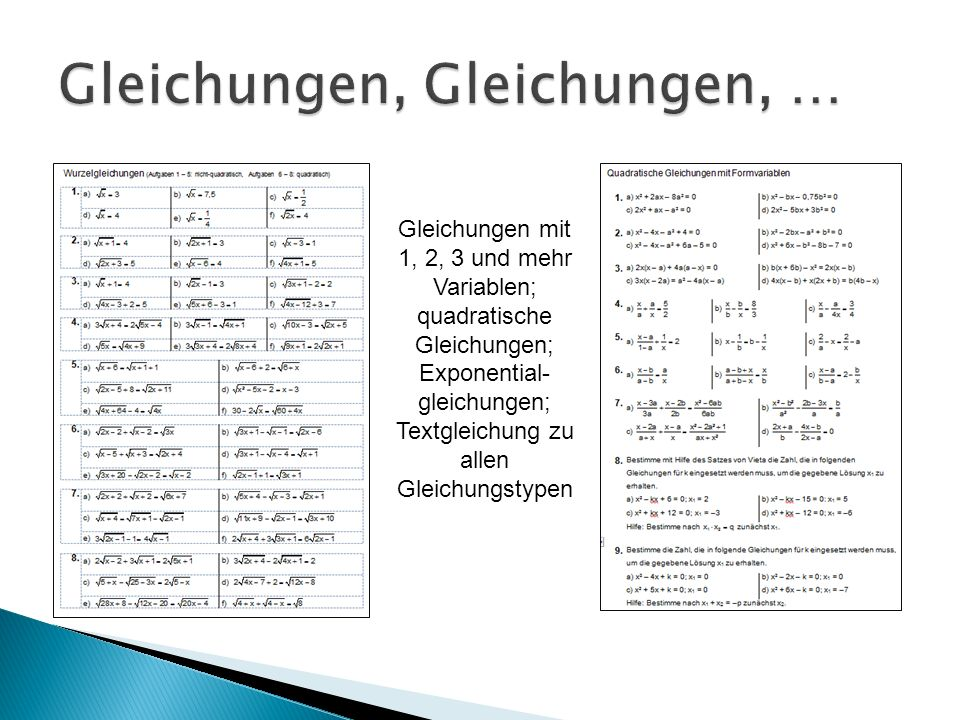 Gleichungen mit 1, 2, 3 und mehr Variablen; quadratische Gleichungen; Exponential- gleichungen; Textgleichung zu allen Gleichungstypen