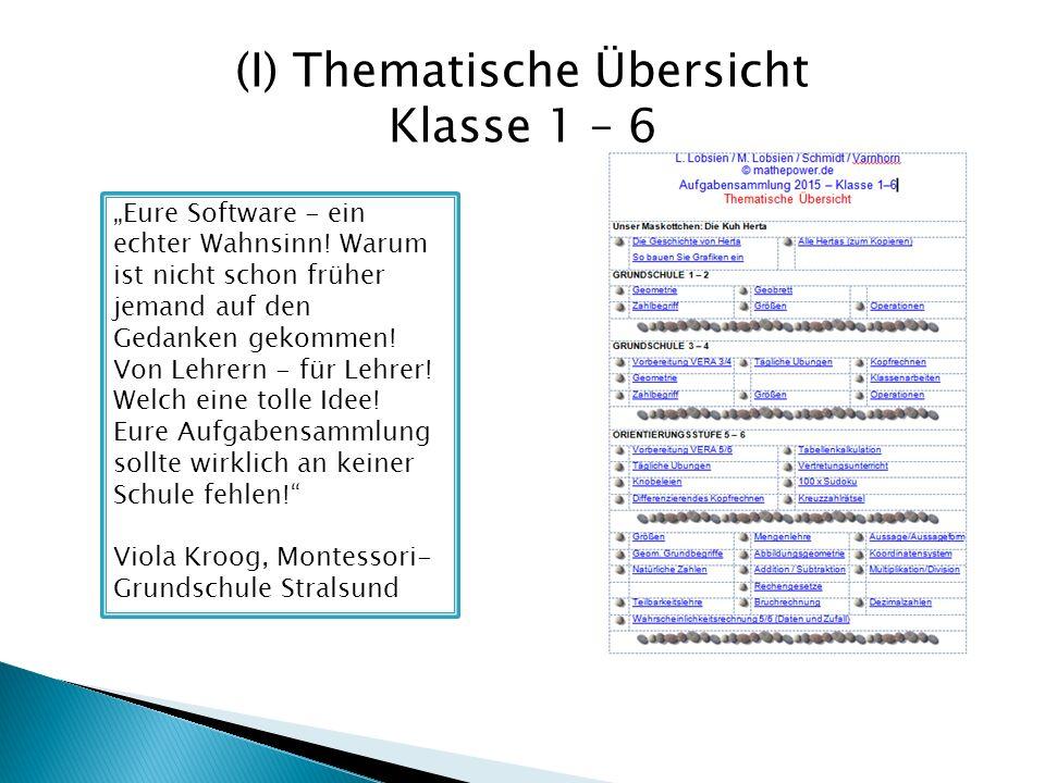 (I) Thematische Übersicht Klasse 1 – 6 Eure Software - ein echter Wahnsinn! Warum ist nicht schon früher jemand auf den Gedanken gekommen! Von Lehrern