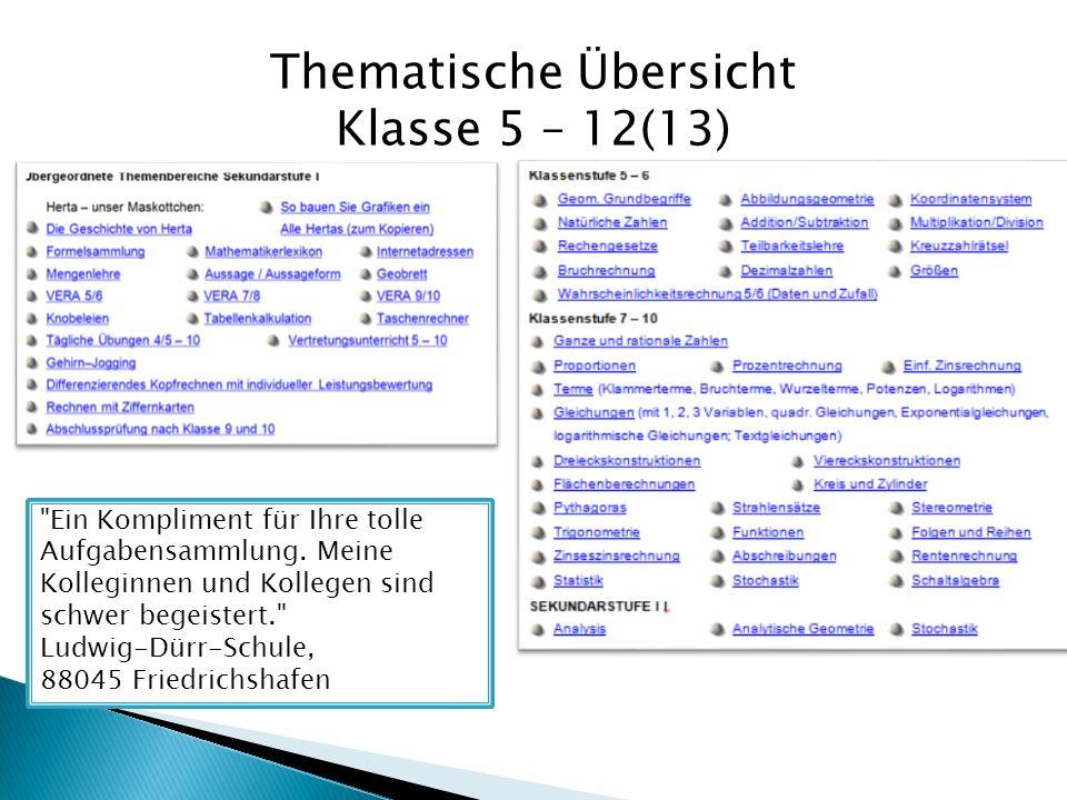 Thematische Übersicht Klasse 5 – 12(13)