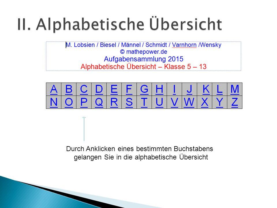 Durch Anklicken eines bestimmten Buchstabens gelangen Sie in die alphabetische Übersicht