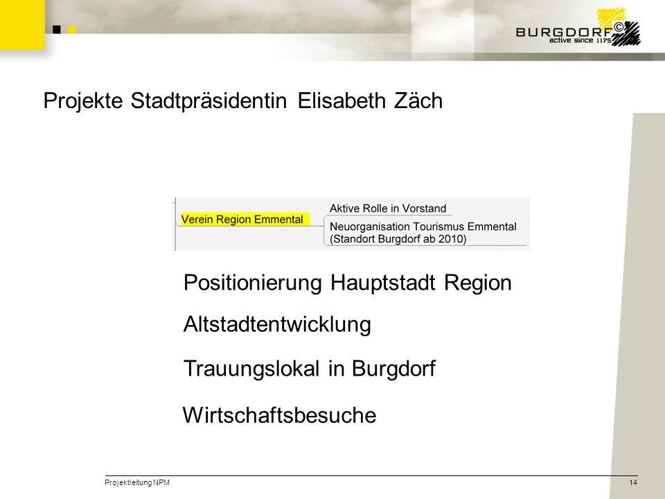 Projektleitung NPM14 Positionierung Hauptstadt Region Altstadtentwicklung Trauungslokal in Burgdorf Wirtschaftsbesuche Projekte Stadtpräsidentin Elisa