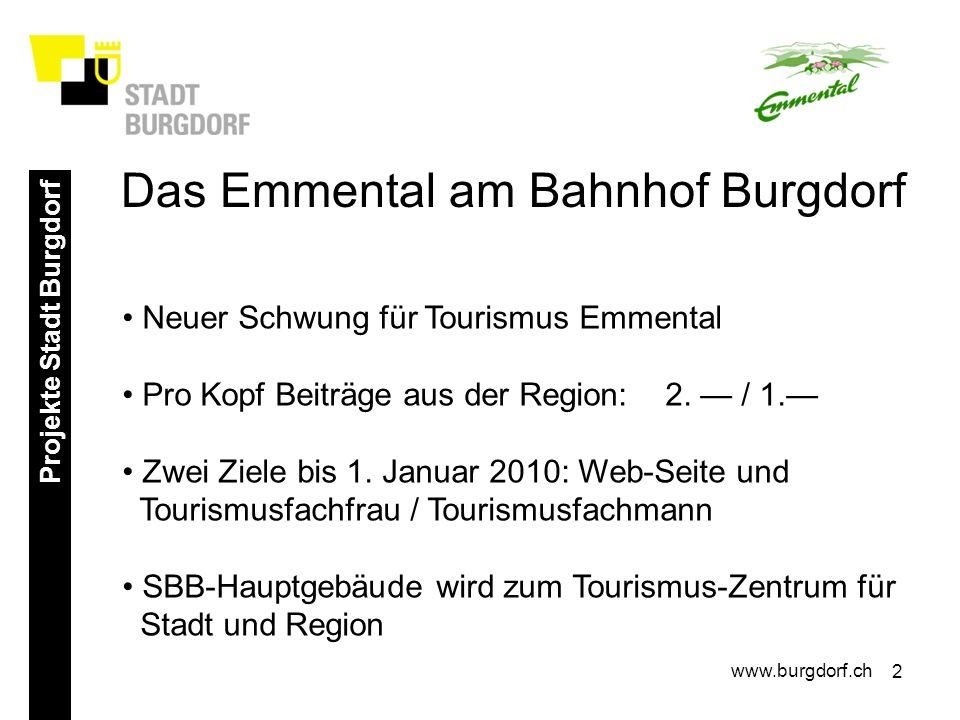 2 Projekte Stadt Burgdorf www.burgdorf.ch Neuer Schwung für Tourismus Emmental Pro Kopf Beiträge aus der Region: 2. / 1. Zwei Ziele bis 1. Januar 2010