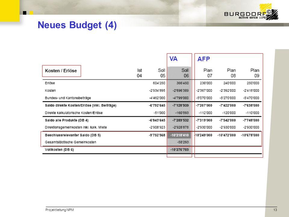 Projektleitung NPM13 Neues Budget (4) AFP VA