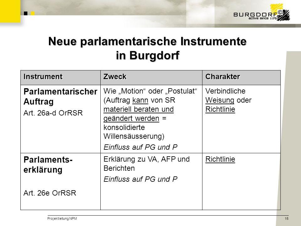 Projektleitung NPM15 Neue parlamentarische Instrumente in Burgdorf InstrumentZweckCharakter Parlamentarischer Auftrag Art. 26a-d OrRSR Wie Motion oder