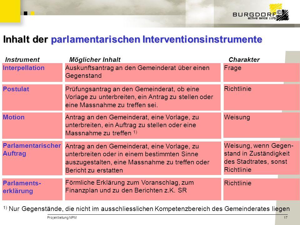 Projektleitung NPM17 Inhalt der parlamentarischen Interventionsinstrumente 1) Nur Gegenstände, die nicht im ausschliesslichen Kompetenzbereich des Gem