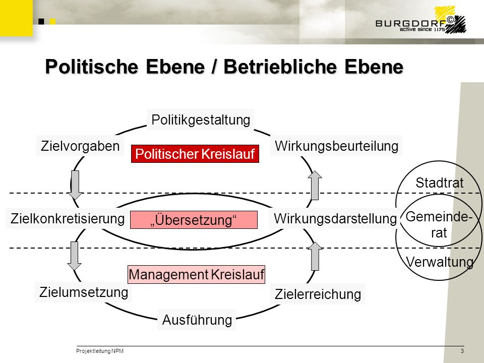 Projektleitung NPM3 Politische Ebene / Betriebliche Ebene Stadtrat Gemeinde- rat Verwaltung Ausführung Zielerreichung Zielumsetzung Politischer Kreisl