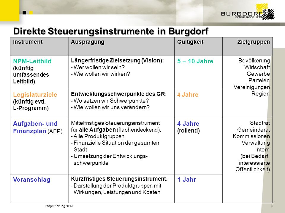 Projektleitung NPM5 Direkte Steuerungsinstrumente in Burgdorf InstrumentAusprägungGültigkeitZielgruppen NPM-Leitbild (künftig umfassendes Leitbild) Längerfristige Zielsetzung (Vision): - Wer wollen wir sein.