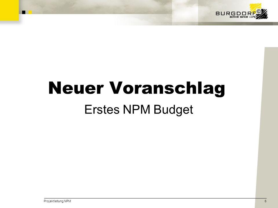 Projektleitung NPM6 Neuer Voranschlag Erstes NPM Budget