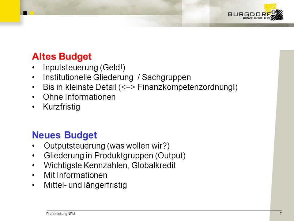 Projektleitung NPM7 Altes Budget Inputsteuerung (Geld!) Institutionelle Gliederung / Sachgruppen Bis in kleinste Detail ( Finanzkompetenzordnung!) Ohn