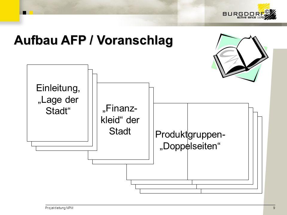 Projektleitung NPM9 Produktgruppen- Doppelseiten Finanz- kleid der Stadt Aufbau AFP / Voranschlag Einleitung, Lage der Stadt