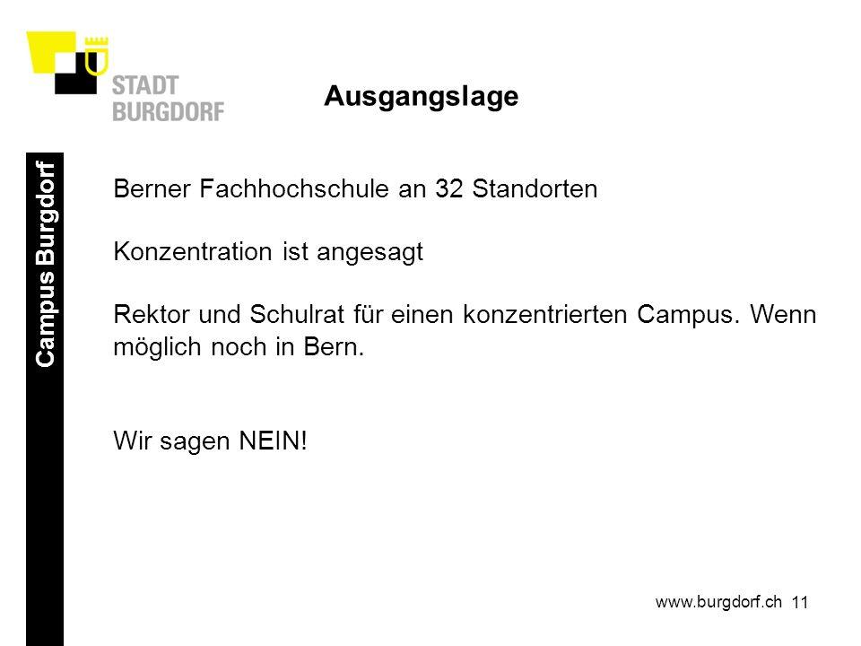 11 Campus Burgdorf www.burgdorf.ch Ausgangslage Berner Fachhochschule an 32 Standorten Konzentration ist angesagt Rektor und Schulrat für einen konzentrierten Campus.