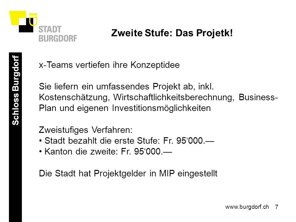 7 Schloss Burgdorf www.burgdorf.ch Zweite Stufe: Das Projetk.