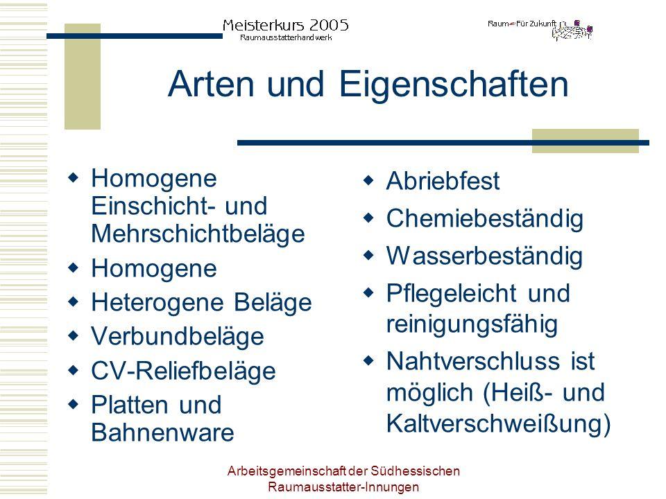 Arbeitsgemeinschaft der Südhessischen Raumausstatter-Innungen Arten und Eigenschaften Homogene Einschicht- und Mehrschichtbeläge Homogene Heterogene B