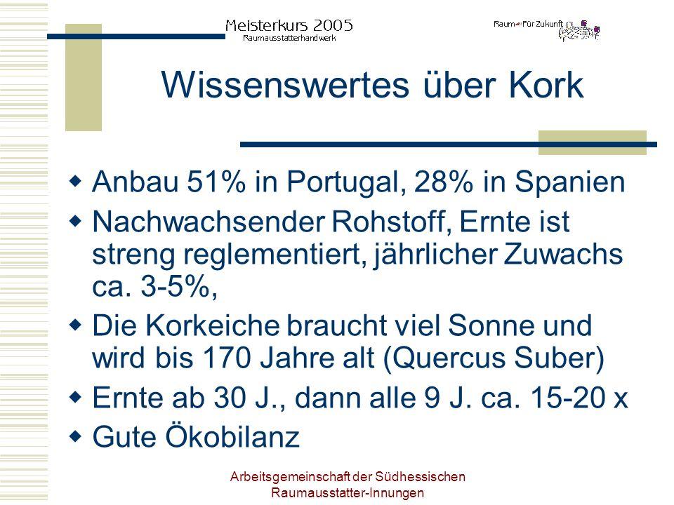 Arbeitsgemeinschaft der Südhessischen Raumausstatter-Innungen Wissenswertes über Kork Anbau 51% in Portugal, 28% in Spanien Nachwachsender Rohstoff, E