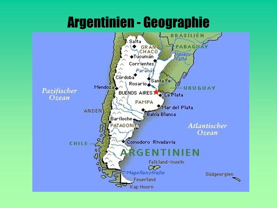 Argentinien ist in 6Gebiete aufgeteilt : Feuerland: -Insel im Süden -gehört zu Argentinien und Chile -dünn besiedelt -Teile des Landes stehen unter Naturschutz Mesopotamien: - Nordosten des Landes -hat flache Hügel und Lagunen -Sumpfniederungen Coyo: -Andenregion -wenig Regen -Vulkane und Salzseen