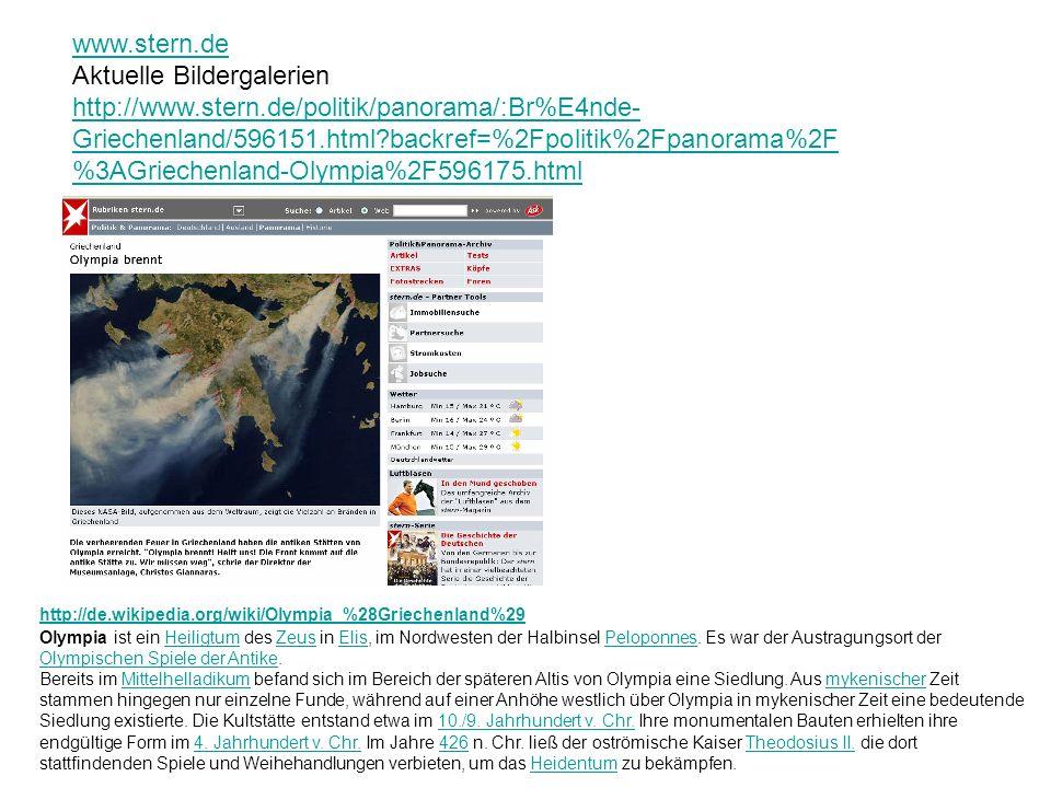 http://de.wikipedia.org/wiki/Olympia_%28Griechenland%29 Olympia ist ein Heiligtum des Zeus in Elis, im Nordwesten der Halbinsel Peloponnes. Es war der