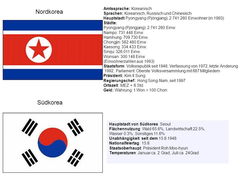 Auf Koreanisch hat das Land im Norden und im Süden verschiedene Namen.