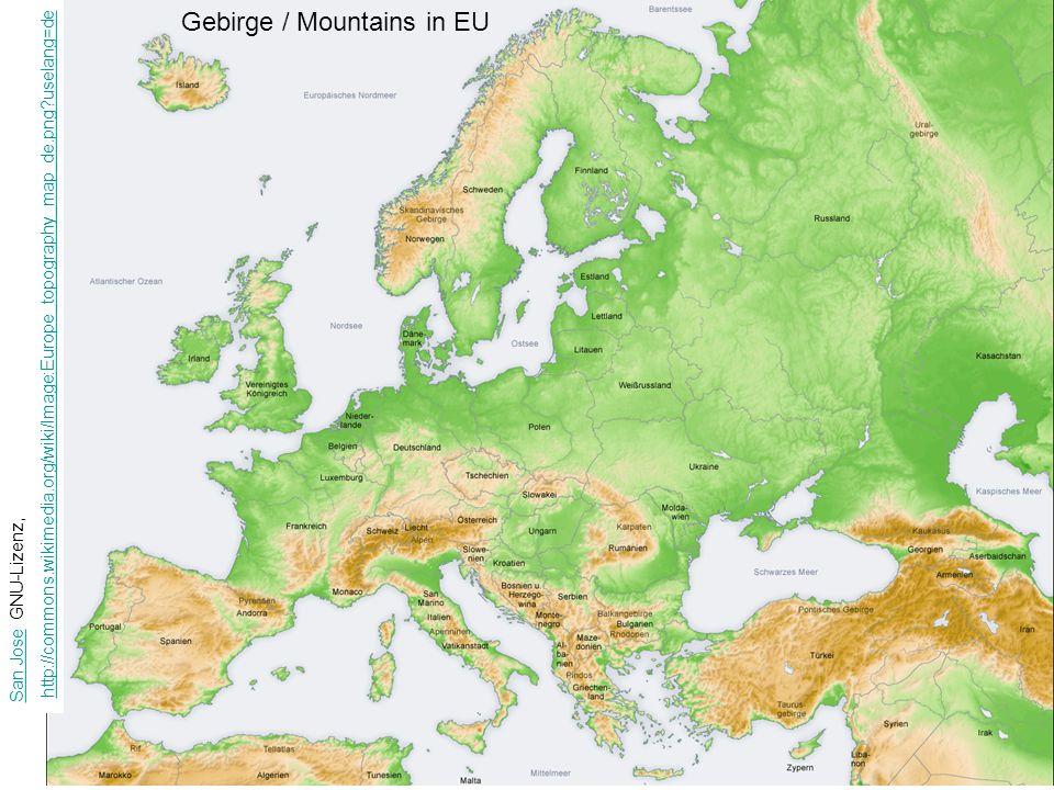 Gebirge / Mountains in EU San JoseSan Jose GNU-Lizenz, http://commons.wikimedia.org/wiki/Image:Europe_topography_map_de.png?uselang=de