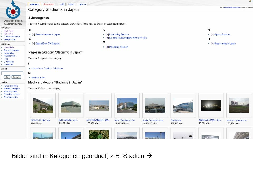 Bilder sind in Kategorien geordnet, z.B. Stadien