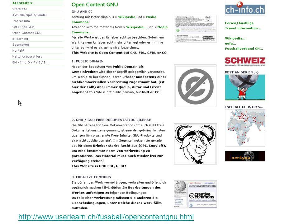 Arbeitblatt deutsch: http://www.userlearn.ch/fussball/opencontentgnu.htmlhttp://www.userlearn.ch/fussball/opencontentgnu.html