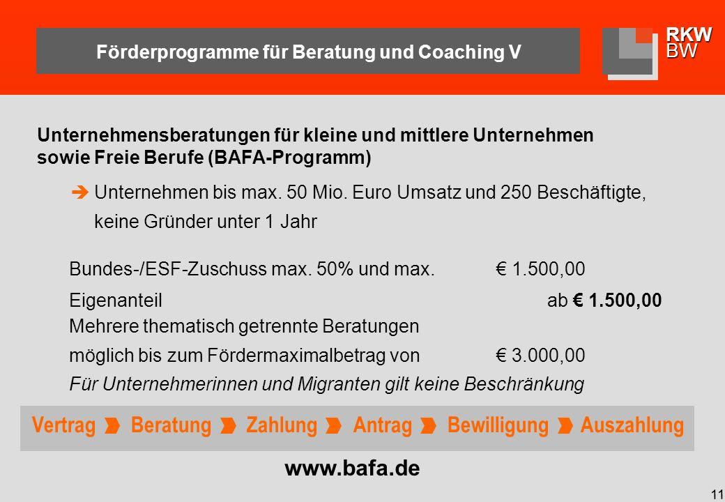 RKWBW 11 Förderprogramme für Beratung und Coaching V Bundes-/ESF-Zuschuss max.